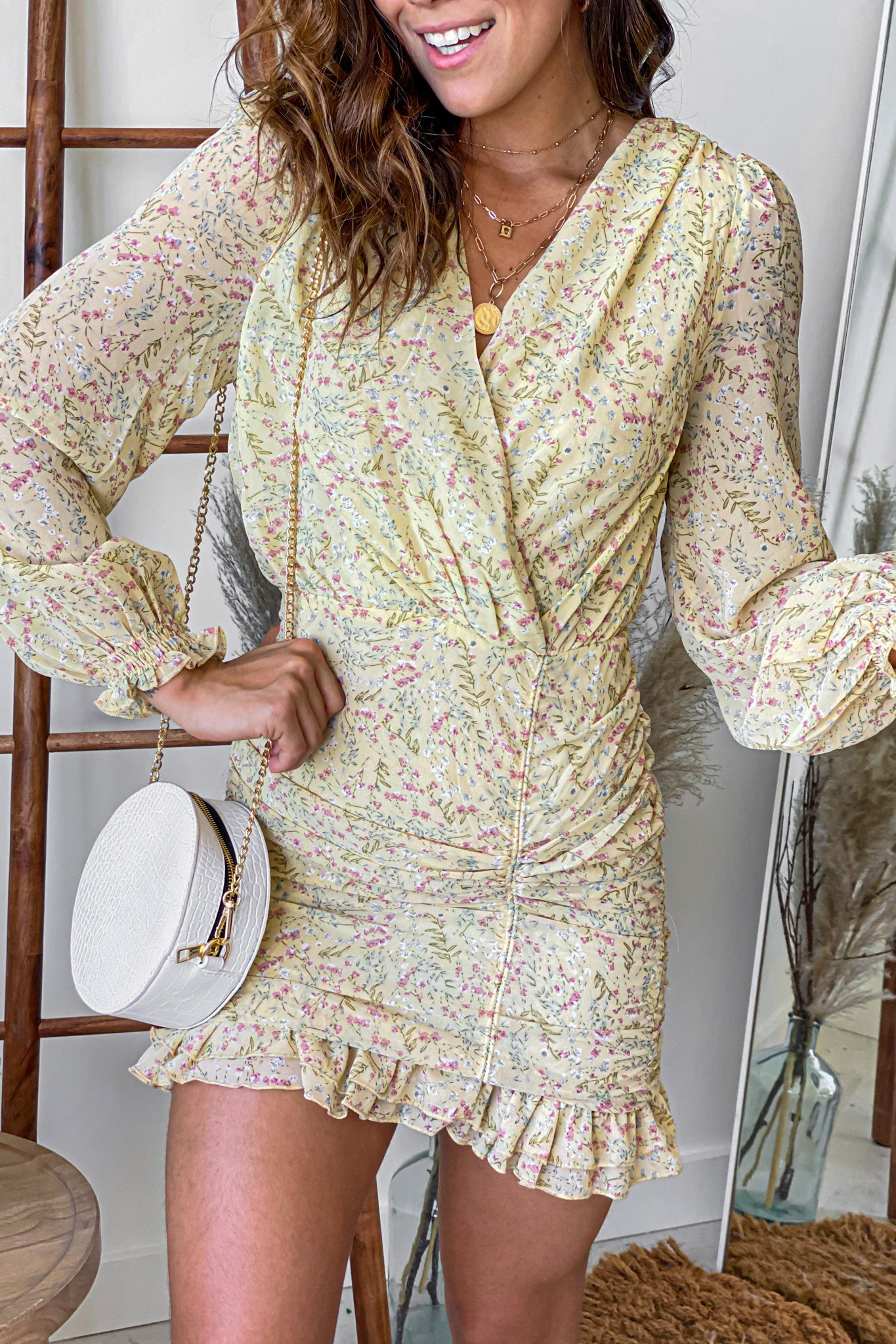yellow floral short dress with long sleeves