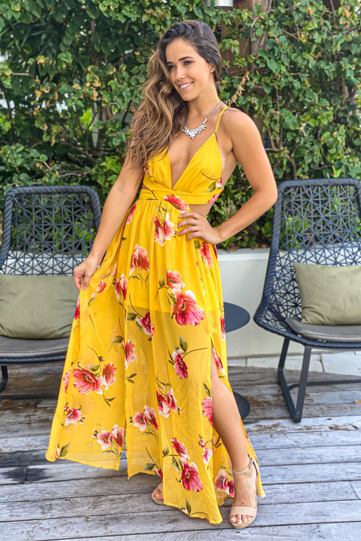 yellow floral vacation dress