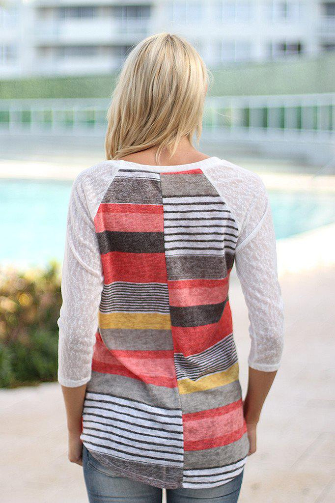 striped multi color top