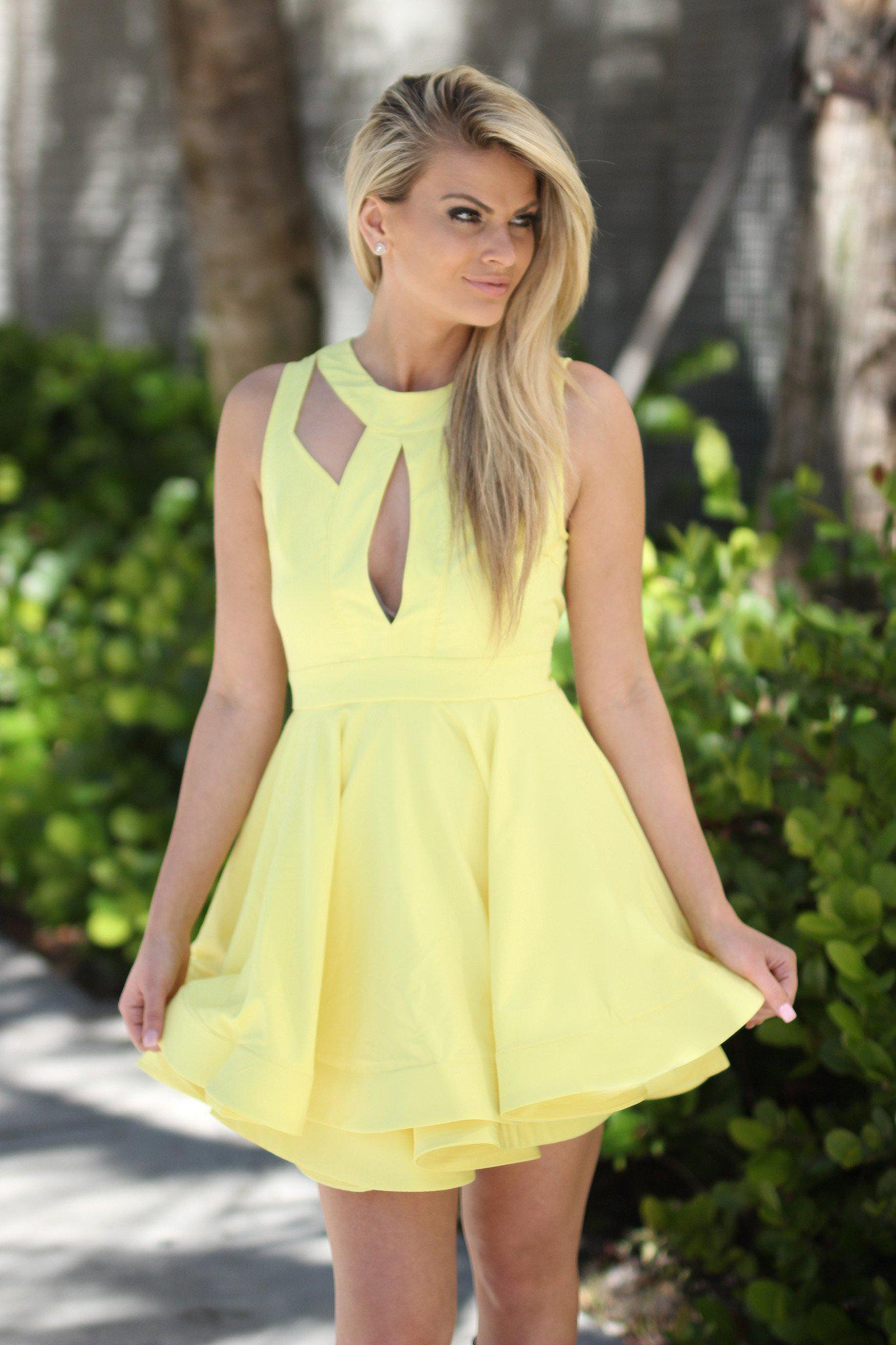 Yellow Skater Short Dress