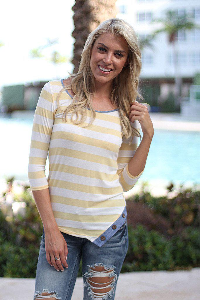 Yellow Striped Top with Buttons