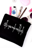 "Black ""Oh... you make me blush"" Makeup Bag"