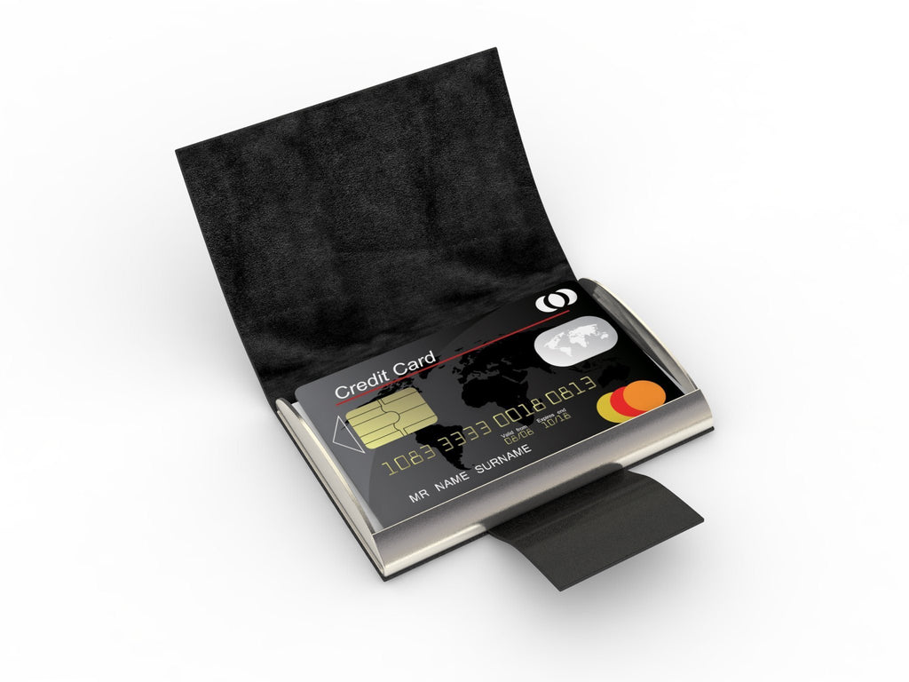 Professional - Black Leather Business Card Case & Holder - PU Leather Grain Wrapped Stainless Steel