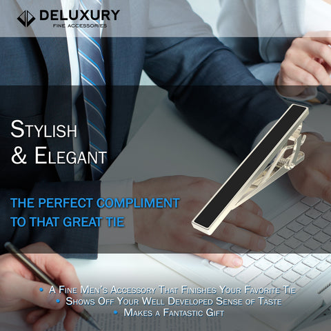Professional - Black Tie Clip - Classic, Elegant & Goes With Any Tie