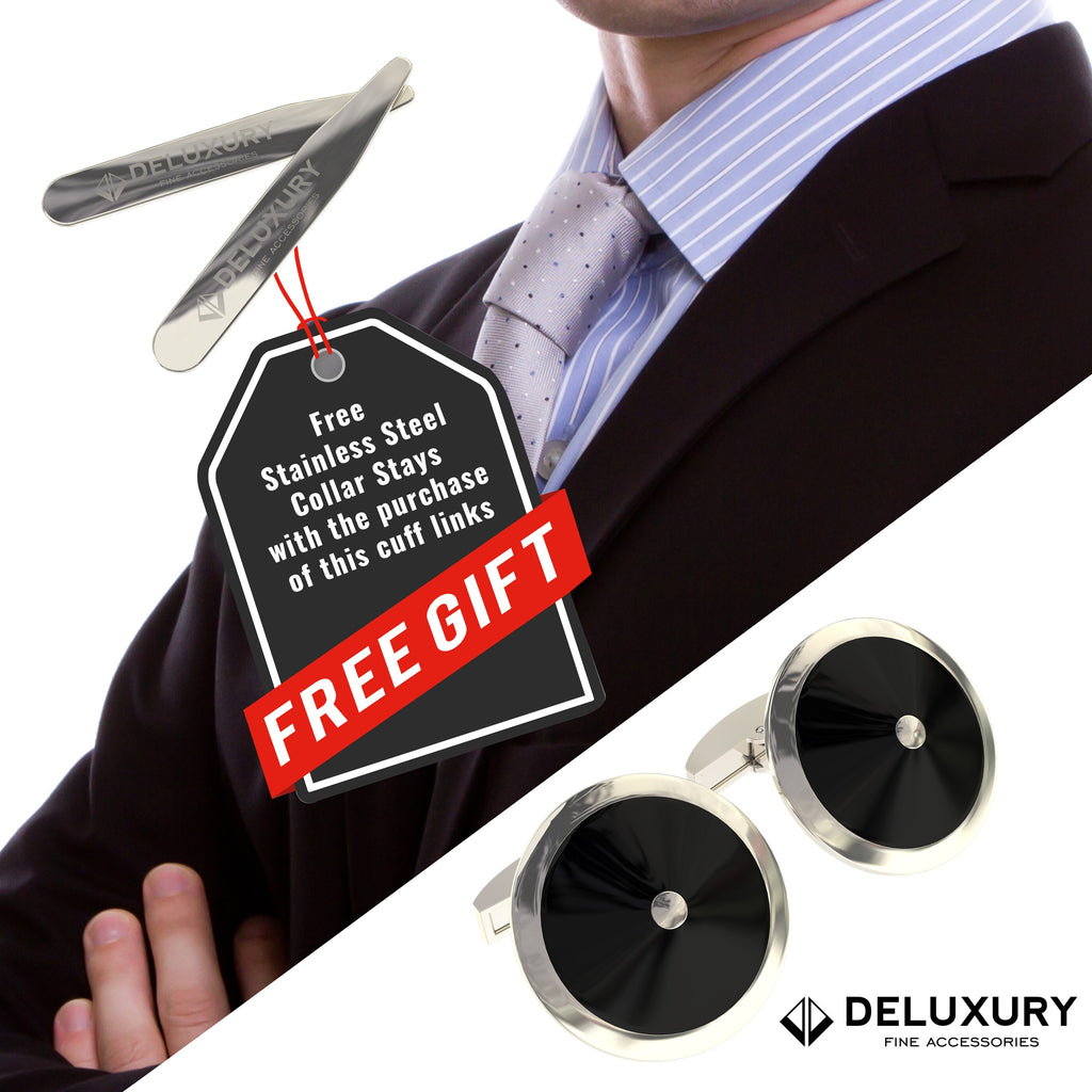 Professional - Cuff Link Set - In Stylish Black & Silver, Modern Circular Design