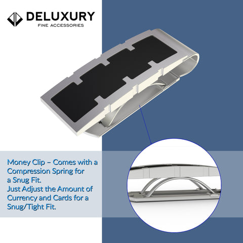 Professional - Levitt Steel Money Clip - Silver & Black Classic Design  A Great Gift For Him!