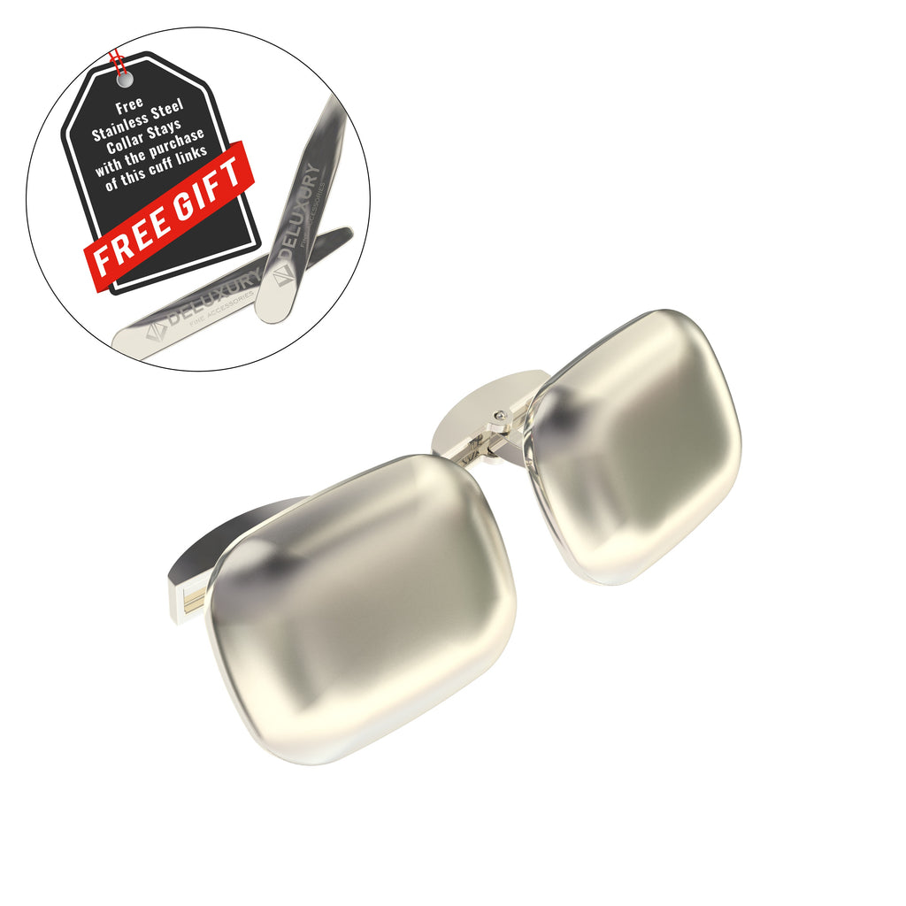 Professional - Modern Styled Brushed Steel Cuff Link Set - BONUS: Stainless Steel Collar Stays (2)