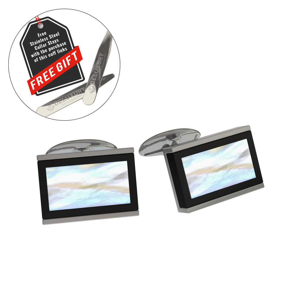 Professional - Mother Of Pearl Cuff Link Set - Modern Design With Bonus Stainless Steel Collar Stays