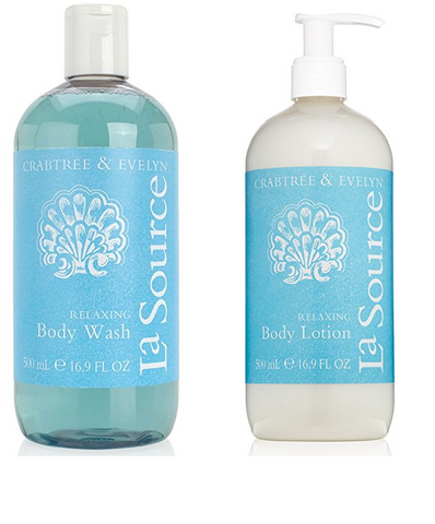 Crabtree & Evelyn La Source Relaxing 2pc Set - Body Wash and Body Lotion 16.9 oz. each - Discontinued Beauty Products LLC