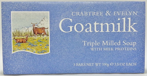 Crabtree & Evelyn  Goatmilk Triple Milled Soap 3 bars 3.5 oz each - Discontinued Beauty Products LLC