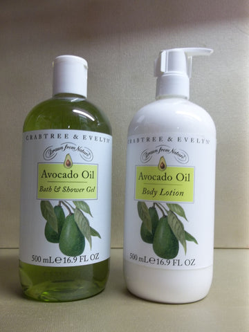 Crabtree & Evelyn Avocado Oil 2pc Set - Bath & Shower Gel and Body Lotion 16.9 oz. each - Discontinued Beauty Products LLC