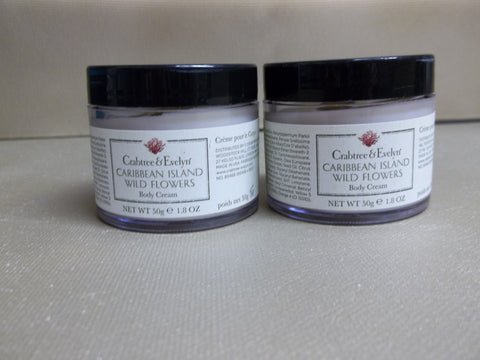 Crabtree & Evelyn Caribbean Island Wild Flowers Body Cream set of 2, 1.8 oz each - Discontinued Beauty Products LLC