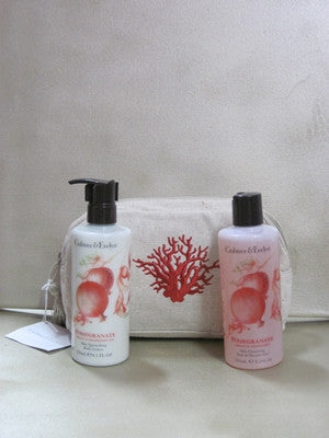 Crabtree & Evelyn Pomegranate Argan & Grapeseed Gift Set in Tan Cosmetic Bag - Discontinued Beauty Products LLC
