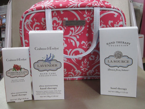 Crabtree & Evelyn Hand Therapy Gift Set with Pink Floral Cosmetic  Bag - Discontinued Beauty Products LLC