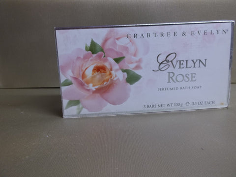Crabtree & Evelyn Evelyn Rose Perfumed Bath Soap 3 Bars 3.5 oz. each - Discontinued Beauty Products LLC