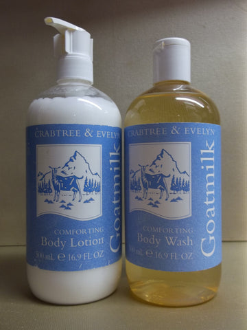Crabtree & Evelyn Goatmilk 2pc Set - Body Lotion and Body Wash 16.9 oz. each - Discontinued Beauty Products LLC