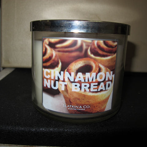 BATH & BODY WORKS THREE WICK CANDLE 14.5 OZ CINNAMON NUT BREAD - Discontinued Beauty Products LLC