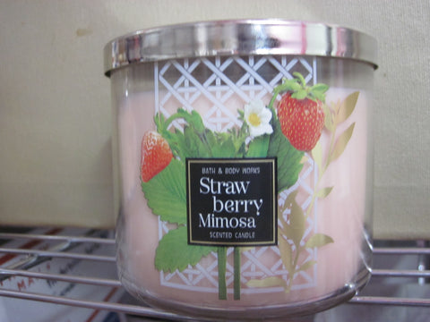 BATH & BODY WORKS THREE WICK CANDLE 14.5 oz  STRAWBERRY MIMOSA - Discontinued Beauty Products LLC