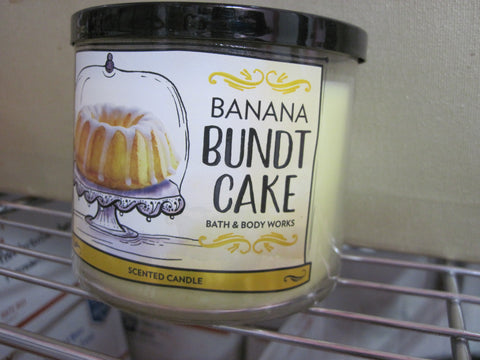 BATH & BODY WORKS THREE WICK CANDLE 14.5 oz BANANA BUNDT CAKE - Discontinued Beauty Products LLC