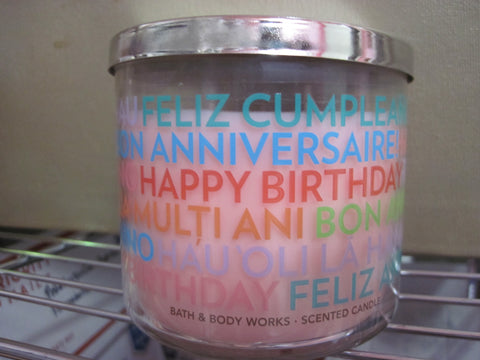 BATH & BODY WORKS THREE WICK CANDLE 14.5 oz HAPPY BIRTHDAY - Discontinued Beauty Products LLC