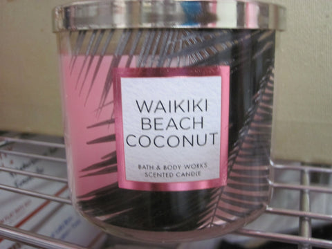 BATH & BODY WORKS THREE WICK CANDLE 14.5 OZ  WAIKIKI BEACH COCONUT - Discontinued Beauty Products LLC