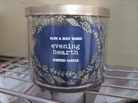 BATH & BODY WORKS THREE WICK CANDLE 14.5 OZ EVENING HEARTH - Discontinued Beauty Products LLC