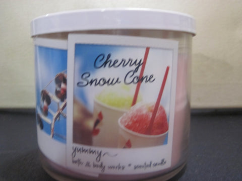 BATH & BODY WORKS THREE WICK CANDLE 14.5 OZ CHERRY SNOW CONE - Discontinued Beauty Products LLC