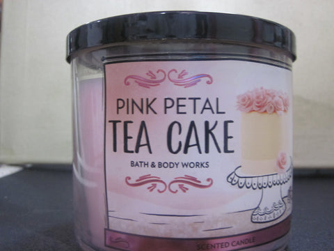 BATH & BODY WORKS THREE WICK CANDLE 14.5 OZ  PINK PETAL TEA CAKE - Discontinued Beauty Products LLC