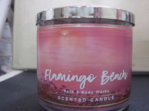 BATH & BODY WORKS THREE WICK CANDLE 14.5 OZ FLAMINGO BEACH - Discontinued Beauty Products LLC
