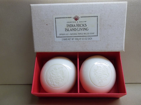 Crabtree & Evelyn India Hicks Island Living Spider Lily 2pc Natural Triple Milled Soap 3.5 oz - Discontinued Beauty Products LLC