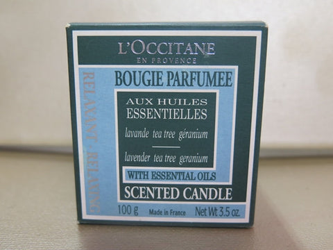 L'Occitane Lavender, Tea Tree & Geranium Scented Candle 3.5 oz.