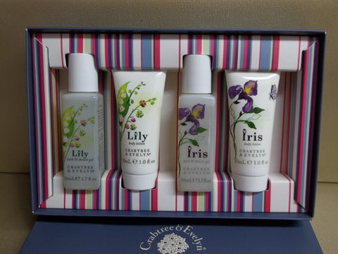 Crabtree & Evelyn Lily & Iris Gift Set - Bath & Shower Gels 1.7 oz. each and Body Lotions 1 oz. each - Discontinued Beauty Products LLC