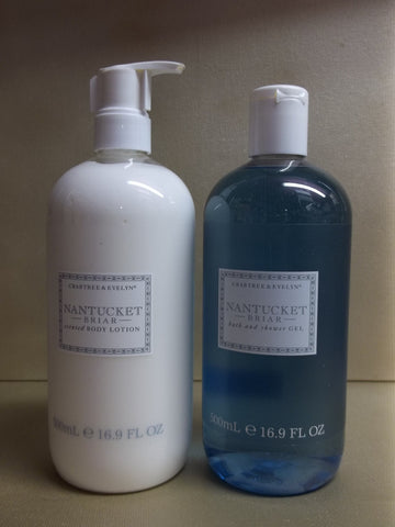 Crabtree & Evelyn Nantucket Briar 2pc Set - Body Lotion and Bath & Shower Gel 16.9 oz. each - Discontinued Beauty Products LLC