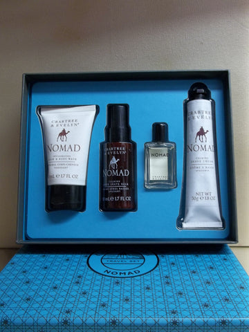 Crabtree & Evelyn Nomad 4pc Travel Gift Set - Hair & Body Wash, After Shave Balm, EDT and Shave Cream