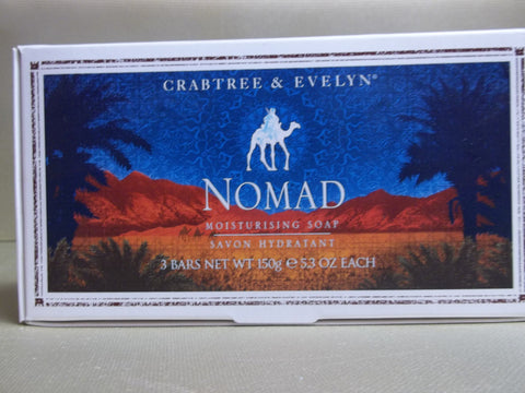 Crabtree & Evelyn Nomad Moisturising Soap 3 Bars 5.3 oz each - Discontinued Beauty Products LLC