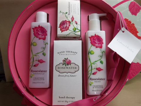 Crabtree & Evelyn Rosewater 4pc Gift Box - Bath & Shower Gel, Body Lotion, Hand Therapy and Triple Milled Soap