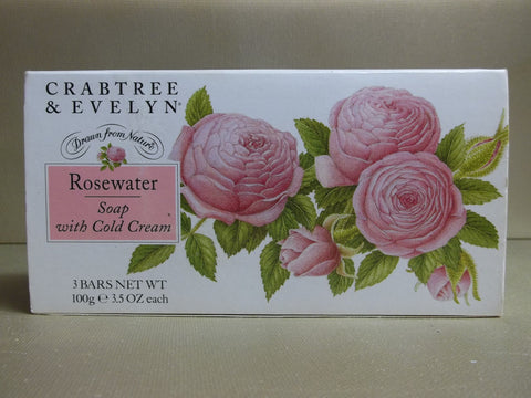 Crabtree & Evelyn Rosewater Soap With Cold Cream 3 Bars 3.5 oz each