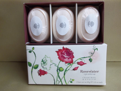 Crabtree & Evelyn Rosewater Triple Milled Soap 3 Bars 3 oz. each