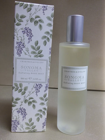 Crabtree & Evelyn Sonoma Valley Hydrating Body Mist 3.4 oz. - Discontinued Beauty Products LLC