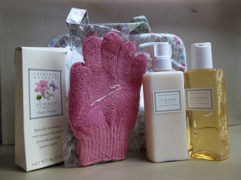 Crabtree & Evelyn Summer Hill Gift Bag, Hand Therapy 1.8 oz, Body Lotion 6.8oz, Bath & Shower Gel 6.8 oz. and Exfoliating Gloves