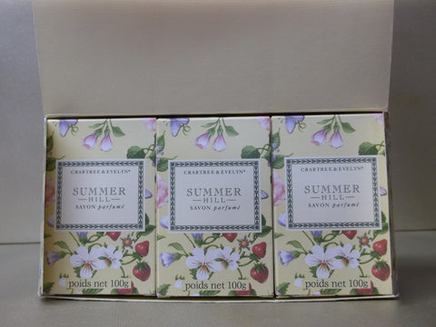 Crabtree & Evelyn Summer Hill Scented Bath Soap 3 Bars 3.5 oz. each