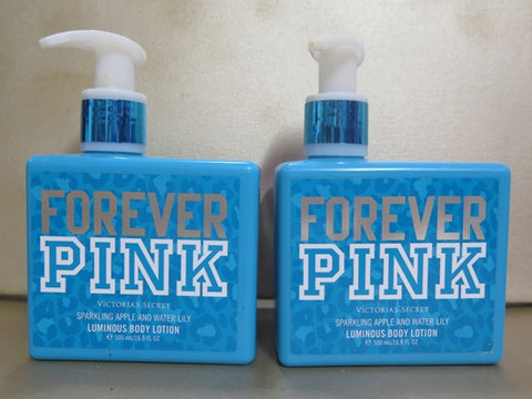 7b9db4944403c Victoria's Secret Forever Pink Sparkling Apple & Water Lily Luminous Body  Lotion Set of 2 at 16.9 oz. each
