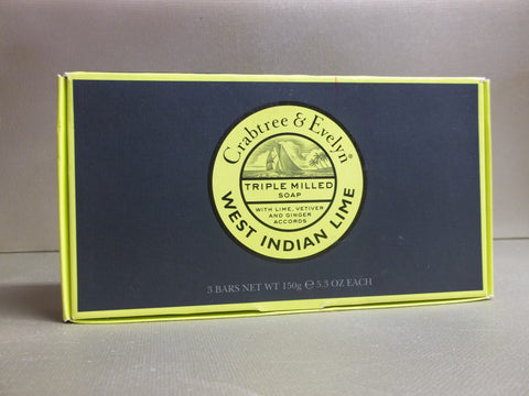 Crabtree & Evelyn West Indian Lime Triple Milled Soap 3 bars 5.3 oz. each