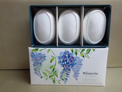 Crabtree & Evelyn Wisteria Triple Milled Soap 3 Bars 3 oz. each