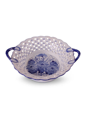 Blue & White Handled Basket - Amy Berry Home
