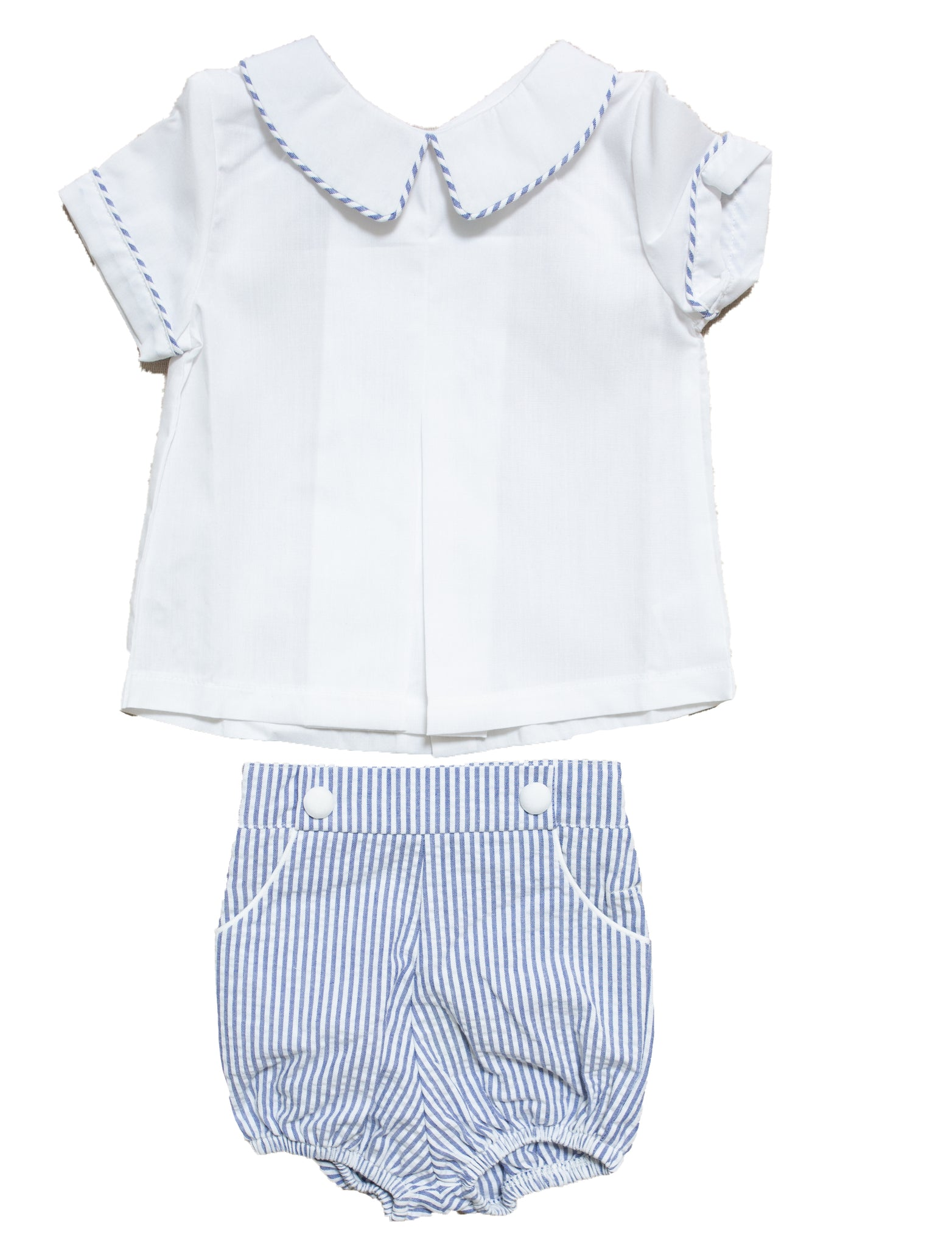 White and Blue Stripe Shortsuit - Amy Berry Home