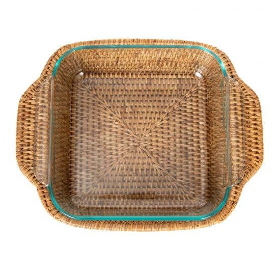 Rattan Square Pyrex Tray - Amy Berry Home