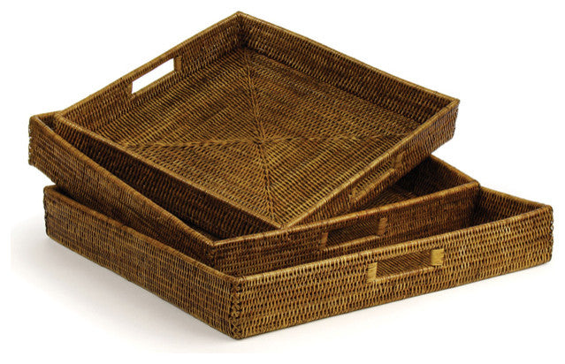 Square Rattan Ottoman Trays - Amy Berry Home