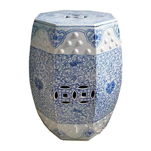 Blue and White Scroll Stool
