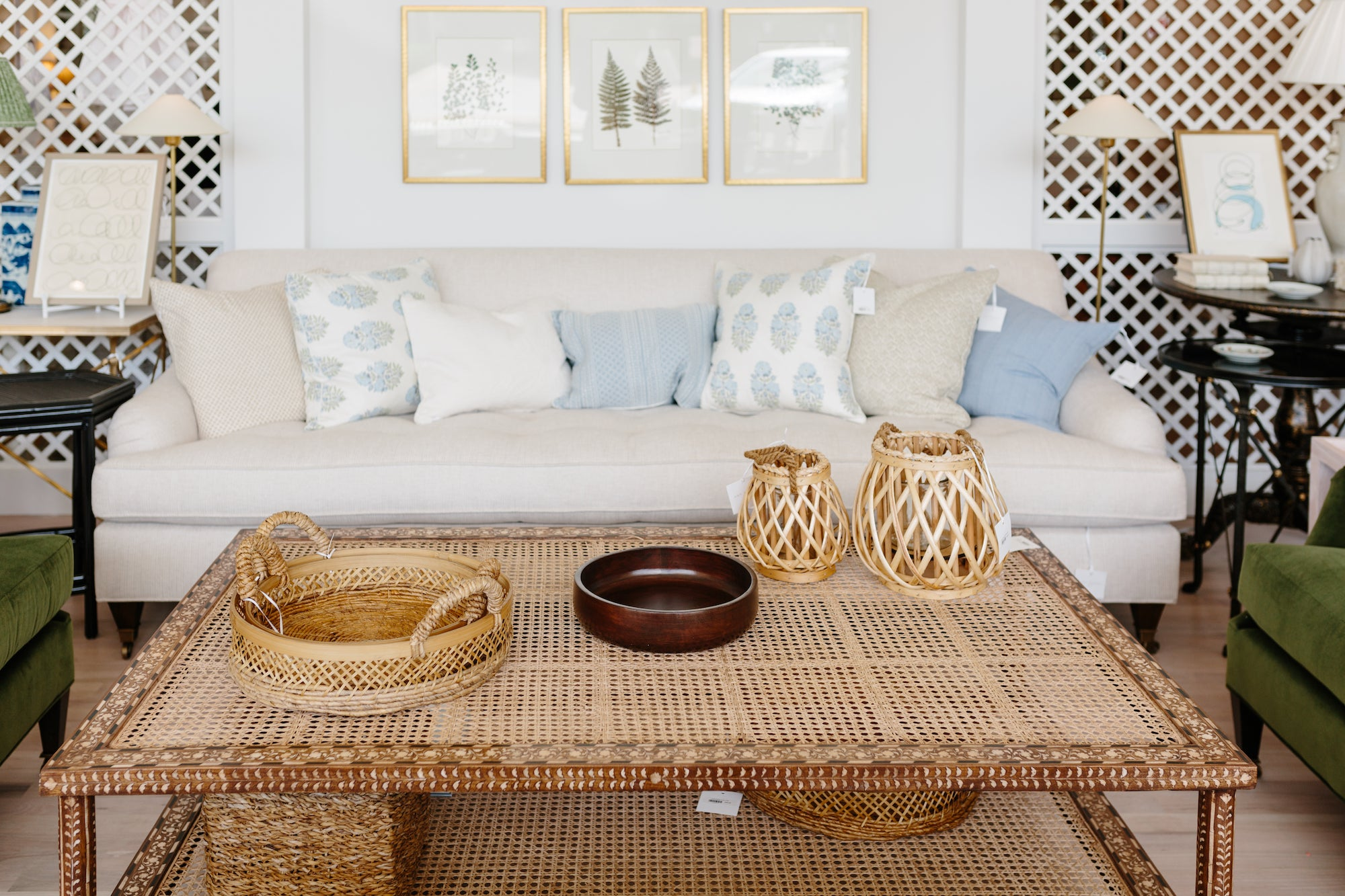 Wood Cane Coffee Table - Amy Berry Home